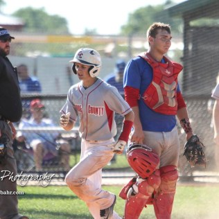 Chase County Bulldog #5 Joseph Soyez scores another run for his team in the top of the fifth inning. The Chase County Bulldogs defeated the West Elk Patriots 16 to 5 in the KSHSAA Class 2-1A State Baseball Quarterfinal at the Great Bend Sports Complex in Great Bend, Kansas on May 24, 2018. (Photo: Joey Bahr, www.joeybahr.com)