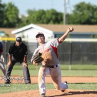 Chase County Bulldog #11 Arlen Sigel throws a pitch in the bottom of the fifth inning. The Chase County Bulldogs defeated the West Elk Patriots 16 to 5 in the KSHSAA Class 2-1A State Baseball Quarterfinal at the Great Bend Sports Complex in Great Bend, Kansas on May 24, 2018. (Photo: Joey Bahr, www.joeybahr.com)