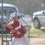 Hoisington Cardinal Holt Hanzlick (#16) waits for a pitch to arrive in the bottom of the first inning. The Hoisington Cardinals defeated the Halstead Dragons by a score of 10 to 6 at Legion Field in Hoisington, Kansas on April 27, 2018. (Photo: Joey Bahr, www.joeybahr.com)