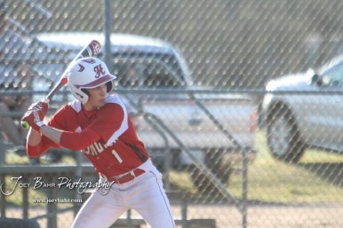 Hoisington Cardinal Trey Byers (#1) watches for a pitch in the bottom of the first inning. The Hoisington Cardinals defeated the Halstead Dragons by a score of 10 to 6 at Legion Field in Hoisington, Kansas on April 27, 2018. (Photo: Joey Bahr, www.joeybahr.com)