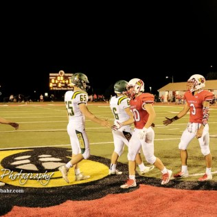 Members of the Pratt Greenbacks and Hoisington Cardinals shake hands following the game. The Pratt Greenbacks defeated the Hoisington Cardinals by a score of 34 to 0 at Elton Brown Field in Hoisington, Kansas on August 31, 2018. (Photo: Joey Bahr, www.joeybahr.com)