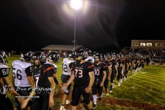 Members of the Central Plains Oilers and Little River Redskins shake hand following the game. The Central Plains Oilers defeated the Little River Redskins by a score of 46 to 0 at Community Memorial Park in Little River, Kansas on September 21, 2018. (Photo: Joey Bahr, www.joeybahr.com)
