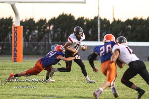 Otis-Bison Cougar #44 Kaden Schwartz punches the ball out from the hands of Stafford Trojan #2 Justice Manning. The Stafford Trojans faced the Otis-Bison Cougars at Cougar Field in Otis, Kansas on September 14, 2018. (Photo: Joey Bahr, www.joeybahr.com)