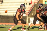 Great Bend Panther #62 Payton Doll and #73 Andrew Wettengel start to block during a pregame warmup. The Great Bend Panthers defeated the Garden City Buffaloes 49 to 6 at Memorial Stadium in Great Bend, Kansas on October 19, 2018. (Photo: Joey Bahr, www.joeybahr.com)