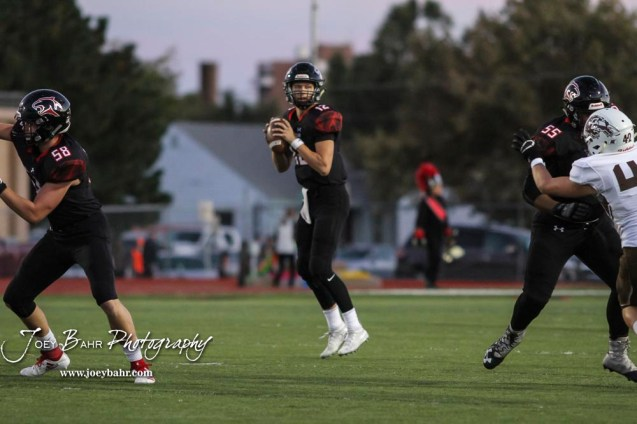 Great Bend Panther #12 Koy Brack looks for a player to throw a pass to in the first quarter. The Garden City Buffaloes traveled to face the Great Bend Panthers at Memorial Stadium in Great Bend, Kansas on October 19, 2018. (Photo: Joey Bahr, www.joeybahr.com)