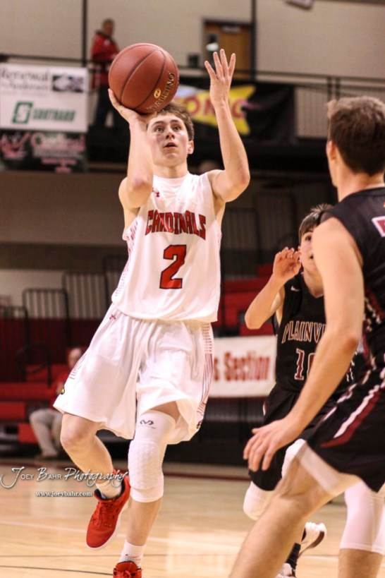 Hoisington Cardinal #2 Avery Brewer takes a shot from the lane in the third quarter. The Hoisington Cardinals defeated the Plainville Cardinals by a score of 70 to 53 at the Hoisington Activity Center in Hoisington, Kansas on February 5, 2019. (Photo: Joey Bahr, www.joeybahr.com)