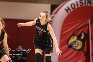 Plainville Lady Cardinal #2 Halli Friend looks for the ball while on defense in the second quarter. The Plainville Lady Cardinals defeated the Hoisington Lady Cardinals by a score of 49 to 35 at the Hoisington Activity Center in Hoisington, Kansas on February 5, 2019. (Photo: Joey Bahr, www.joeybahr.com)