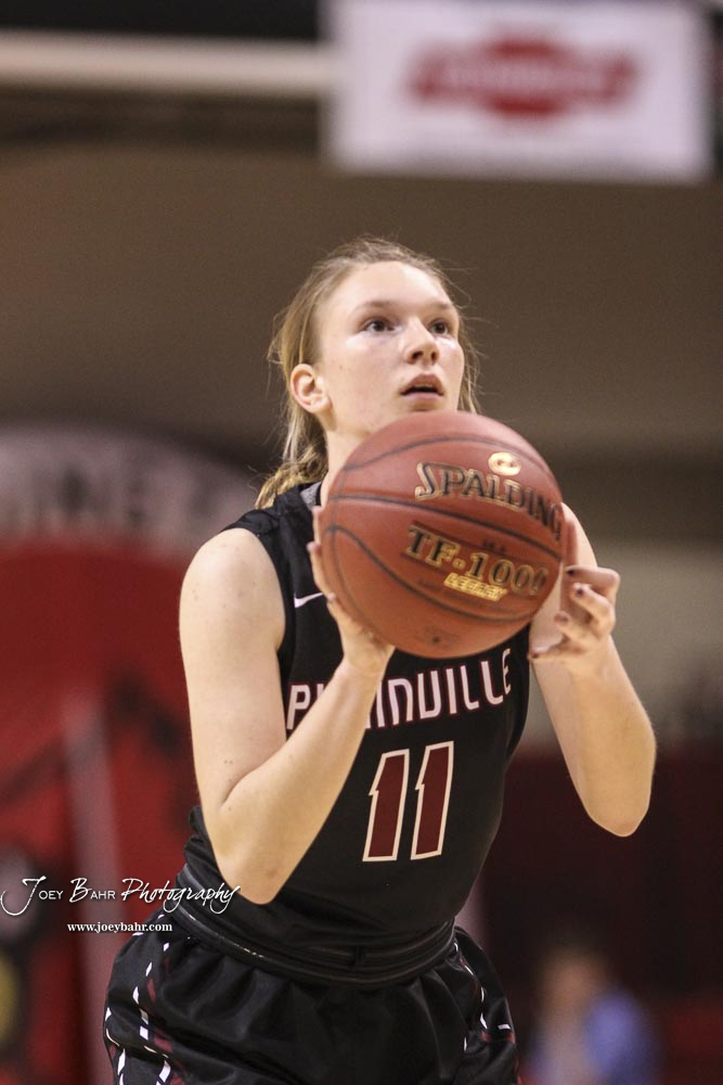 Plainville Lady Cardinal #11 Kate McClellan shoots a free throw attempt in the second quarter. The Plainville Lady Cardinals defeated the Hoisington Lady Cardinals by a score of 49 to 35 at the Hoisington Activity Center in Hoisington, Kansas on February 5, 2019. (Photo: Joey Bahr, www.joeybahr.com)