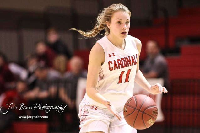Hoisington Lady Cardinal #11 Keeley Wolf takes off on a fast break in the third quarter. The Plainville Lady Cardinals defeated the Hoisington Lady Cardinals by a score of 49 to 35 at the Hoisington Activity Center in Hoisington, Kansas on February 5, 2019. (Photo: Joey Bahr, www.joeybahr.com)