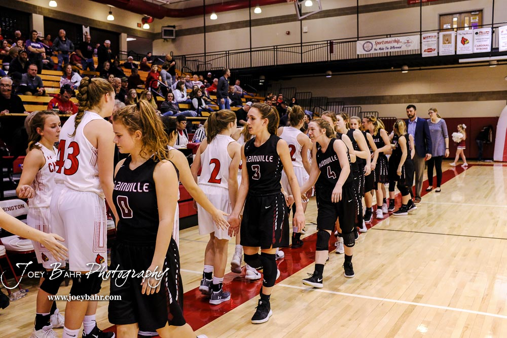 Members of the Hoisington Lady Cardinals and Plainville Lady Cardinals shake hands following the game. The Plainville Lady Cardinals defeated the Hoisington Lady Cardinals by a score of 49 to 35 at the Hoisington Activity Center in Hoisington, Kansas on February 5, 2019. (Photo: Joey Bahr, www.joeybahr.com)