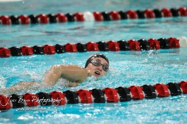 A Great Bend swimmer takes a breathe during the 200 yard Freestyle. The Great Bend Girls Swimming Invitational was held at the Kirkman Activity Center on the campus of Barton Community College in Great Bend on 4 20190426, 2019. (Photo: Joey Bahr, www.joeybahr.com)