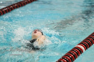Katherine Snapp of Great Bend swims in the final heat of the 100 yard Backstroke. The Great Bend Girls Swimming Invitational was held at the Kirkman Activity Center on the campus of Barton Community College in Great Bend on 4 20190426, 2019. (Photo: Joey Bahr, www.joeybahr.com)