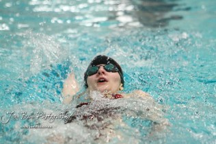 Rachel Panzer of Great Bend swims in the 100 yard Backstroke. The Great Bend Girls Swimming Invitational was held at the Kirkman Activity Center on the campus of Barton Community College in Great Bend on 4 20190426, 2019. (Photo: Joey Bahr, www.joeybahr.com)