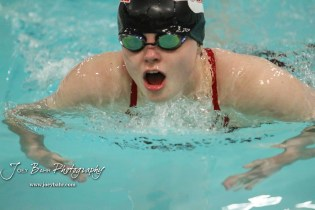 Great Bend's Brynn Boxberger takes a breath during the 100 yard Breaststroke. The Great Bend Girls Swimming Invitational was held at the Kirkman Activity Center on the campus of Barton Community College in Great Bend on 4 20190426, 2019. (Photo: Joey Bahr, www.joeybahr.com)