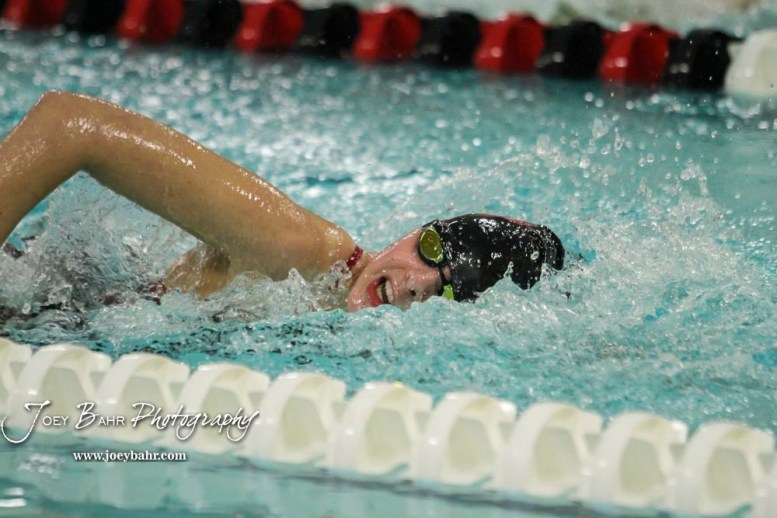 McKenna Cape of Great Bend swims in the 400 yard Freestyle Relay. The Great Bend Girls Swimming Invitational was held at the Kirkman Activity Center on the campus of Barton Community College in Great Bend on 4 20190426, 2019. (Photo: Joey Bahr, www.joeybahr.com)