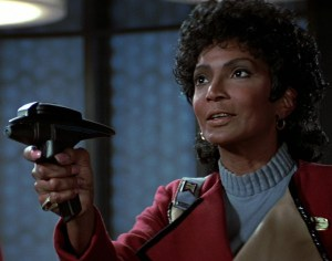 Uhura with phaser