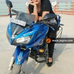 neha shree on bike
