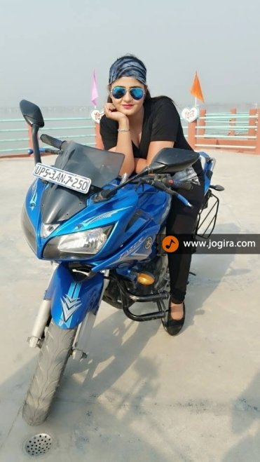 neha shree on bike