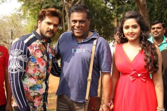 bhojpuri actor khesari lal yadav with ashish vidyarth and kajal raghwani