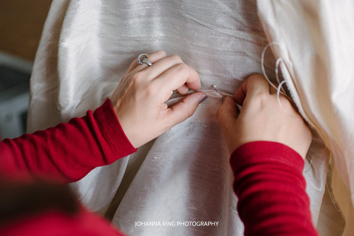 Sarah Foy working on a bridal dress prototype in her studio in Dublin