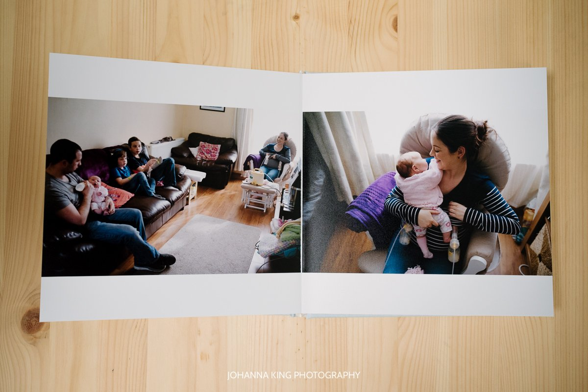 Photo Album spread showing family hanging out in the living room and mother pumping milk