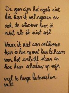 handgeschreven gedicht - pesten - mjp