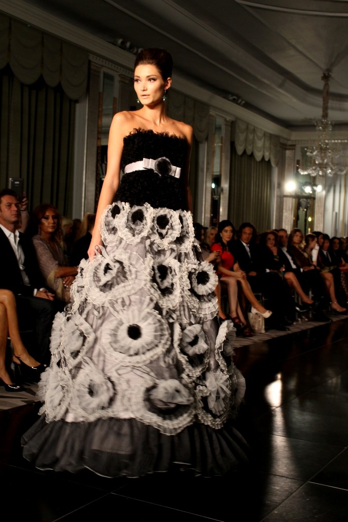 Turk Jadallah London Fashion Week Claridges ballgown rosettes