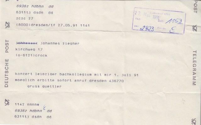 Telegramm von Güttler, Dresden