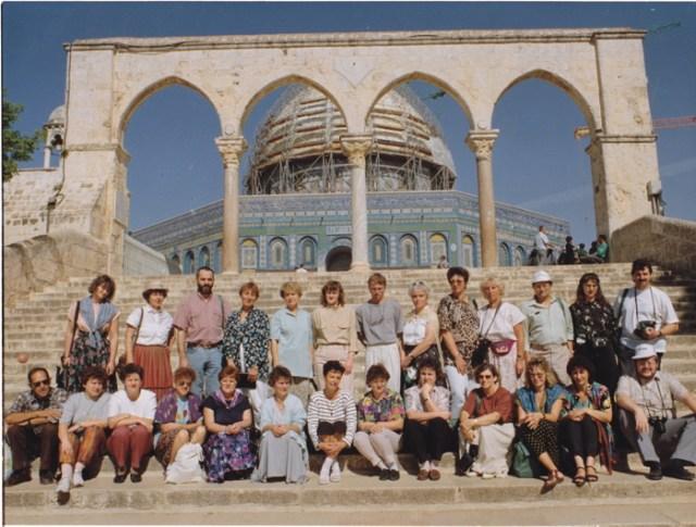 """Die Religionslehrergruppe """"Neuhaus"""" 1993 auf dem Tempelberg in Jerusalem."""