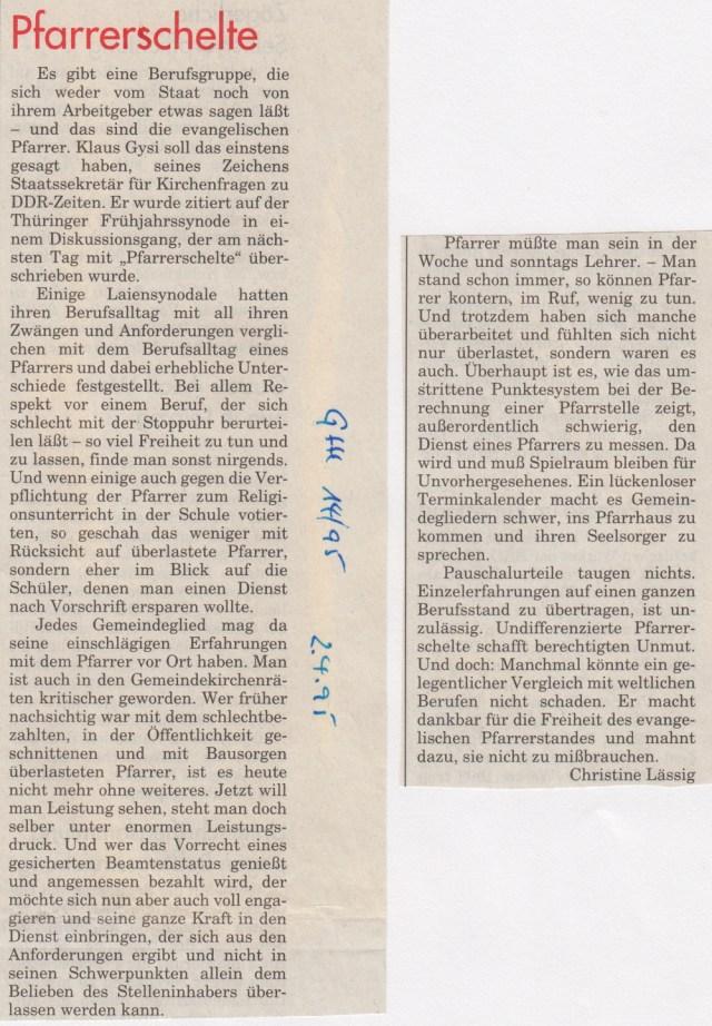 Synode zum Religionsunterricht, April 1995.