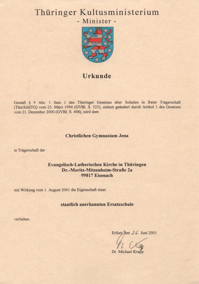 Urkunde Ersatzschule Jena