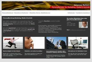 Screenshot der alten Webseite der Personalberatung für Marketing & Vertrieb