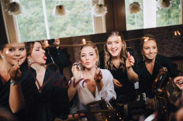 Makeup booth for the guests before Åsa and Magnus wedding at Sundbyholm Castle