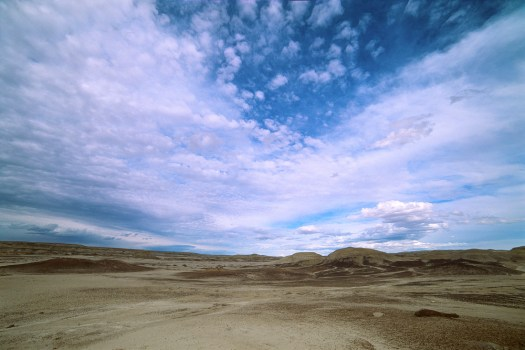 Active skies in the Bisti are worth the colder February weather.