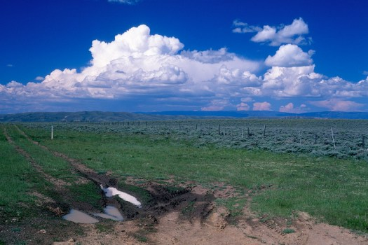 Clouds hover over Wyoming to the North of North Park, Colorado.