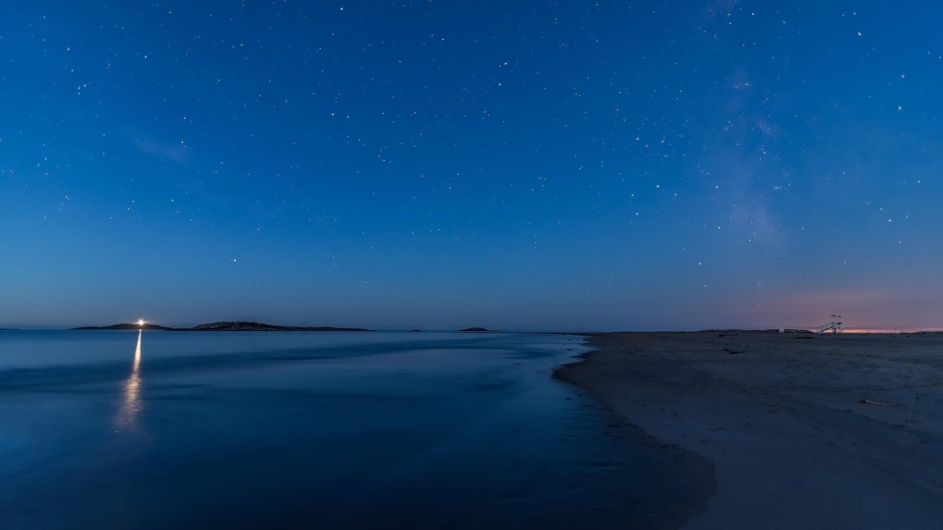 night sky at popham beach   maine landscape and seascape
