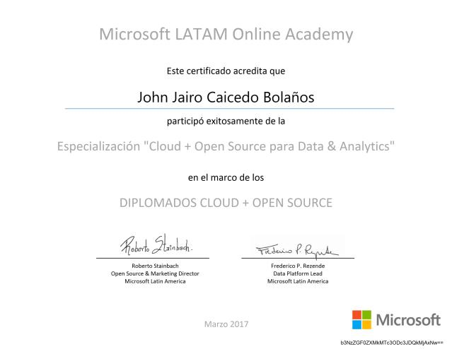 Diplomado «Cloud + Open Source para Data & Analitycs»