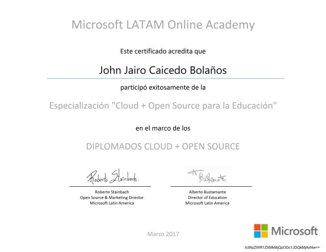 "Diplomado ""Cloud + Open Source para la Educación"""