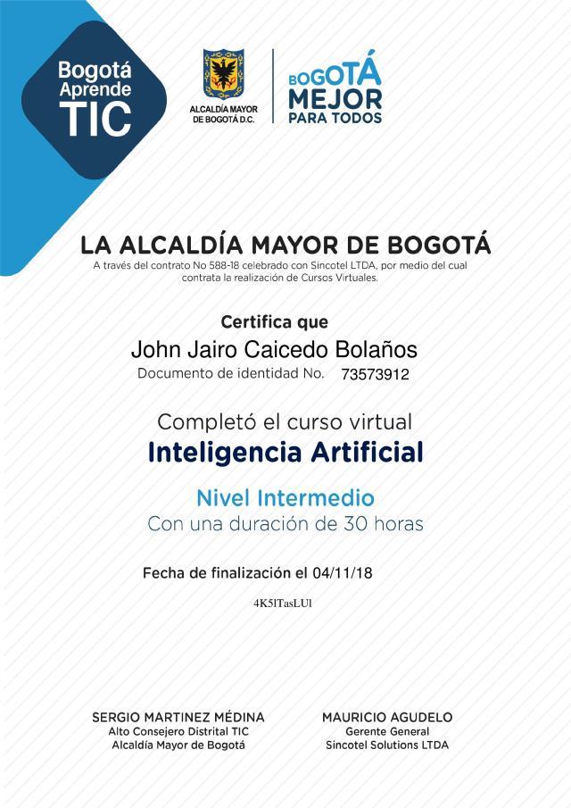 Inteligencia Artificial – Nivel Intermedio
