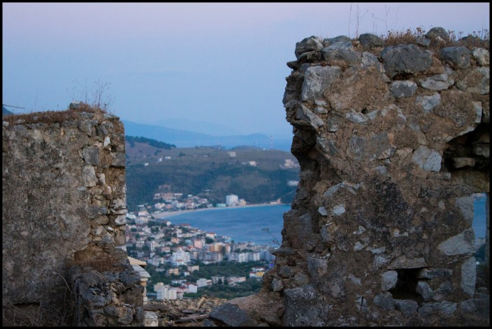 View of the town of Himare, Albania, through the castle ruins