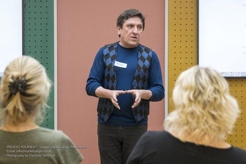 Public speaking tips workshop with Comedian John Cooper.