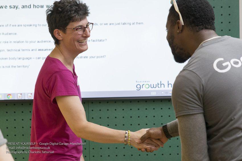 Interpersonal skills workshop with comedian John Cooper at Google Digital Garage Manchester.
