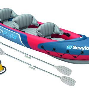 Sevylor Tahiti Plus Bundle – 3 Person Canoe, 2 Leisure Paddles and a Foot Pump