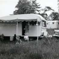 Janet Coopers sewing skills on making the caravan awning