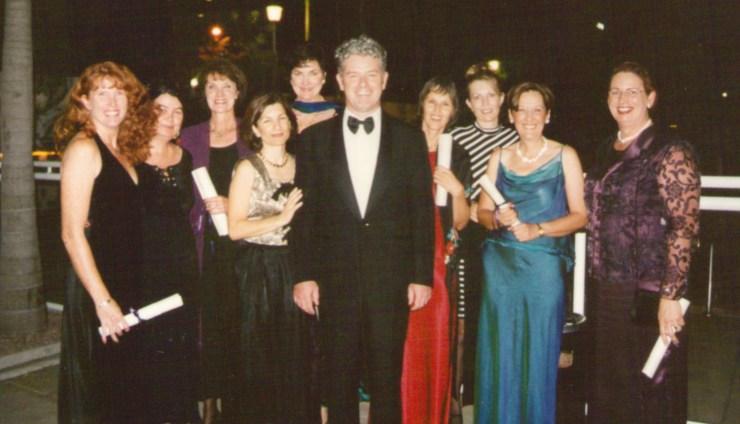 Australian Institute of Craniosacral Therapy Graduation Ball in 2001. Founder and Principal John Dalton with new graduates.