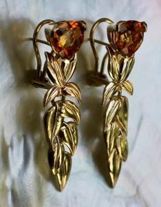 Citrine , Gold Leaves Earrings