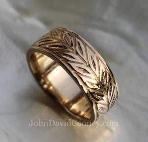 Wedding band leaf