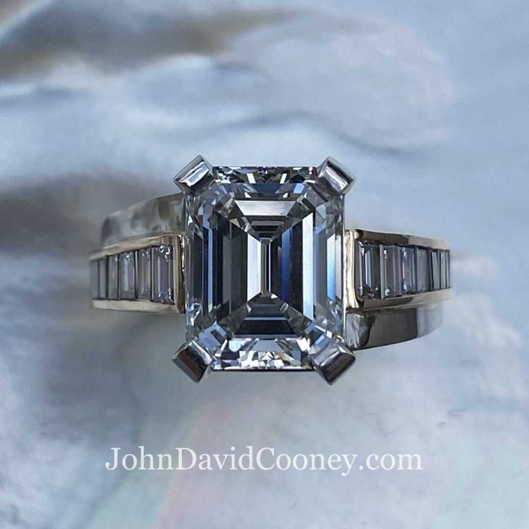GIA Emerald cut Diamond with matching Baguettes