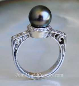 Tahitian Pearl diamonds 14K Palladium