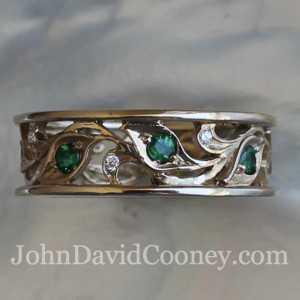 leaf emeralds diamonds band